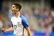 May 28, 2016; Kansas City, KS, USA;  US Men's National Team midfielder Christian Pulisic (17) Celebrates after scoring a goal in the second half at Children's Mercy Park Gary Rohman/MLS/USA TODAY Sports