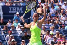 Sep 4, 2016; New York, NY, USA; Roberta Vinci of Italy celebrates after defeating Lesia Tsurenko of Ukraine (not pictured) on day seven of the 2016 U.S. Open tennis tournament at USTA Billie Jean King National Tennis Center. Mandatory Credit: Anthony Gruppuso-USA TODAY Sports