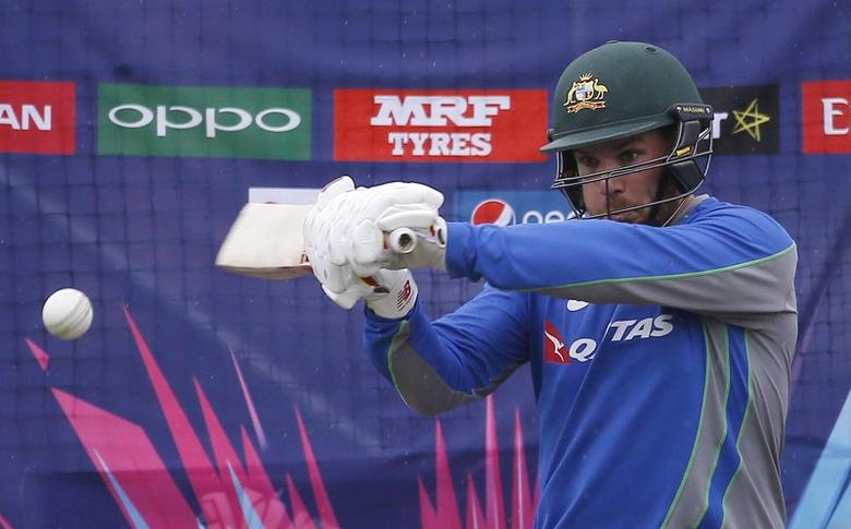 Cricket - World Twenty20 cricket tournament practice session - Dharamsala, India, 17/03/2016. Australia's Aaron Finch bats in the nets.   REUTERS/Adnan Abidi