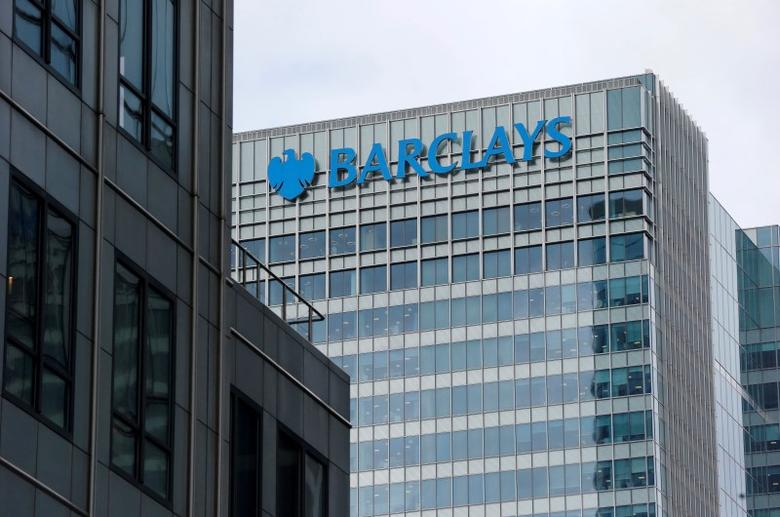 A Barclays bank office is seen at Canary Wharf in London, Britain May 19, 2015. REUTERS/Suzanne Plunkett/File Photo  - RTX2KBK5