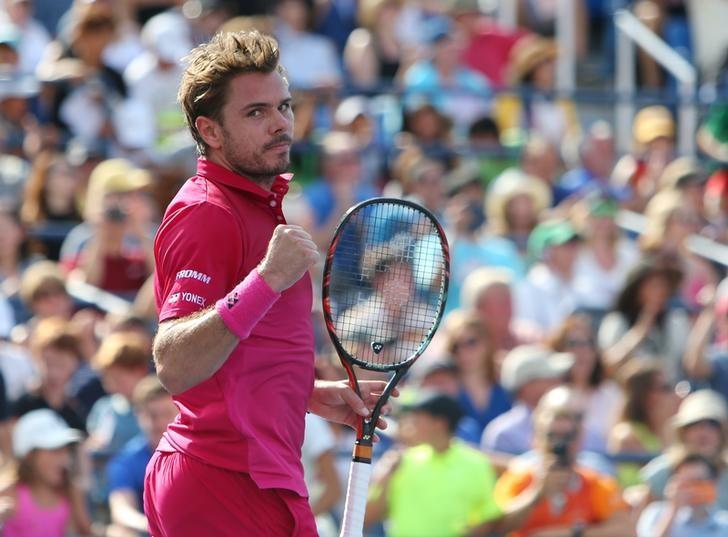 Sep 5, 2016; New York, NY, USA; Stan Wawrinka of Switzerland celebrates after recording match point against Illya Marchenko of Ukraine on day eight of the 2016 U.S. Open tennis tournament at USTA Billie Jean King National Tennis Center. Mandatory Credit: Jerry Lai-USA TODAY Sports