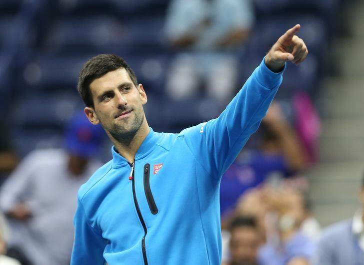 Sep 6, 2016; New York, NY, USA;  Novak Djokovic of Serbia gestures after his match against Jo-Wilfried Tsonga of France on day nine of the 2016 U.S. Open tennis tournament at USTA Billie Jean King National Tennis Center. Mandatory Credit: Jerry Lai-USA TODAY Sports