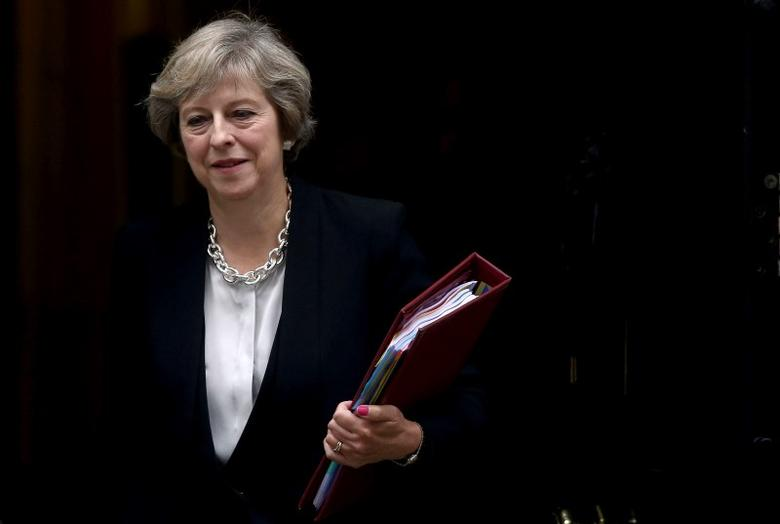 Britain's Prime Minister Theresa May leaves Downing Street in London, Britain September 7, 2016. REUTERS/Neil Hall