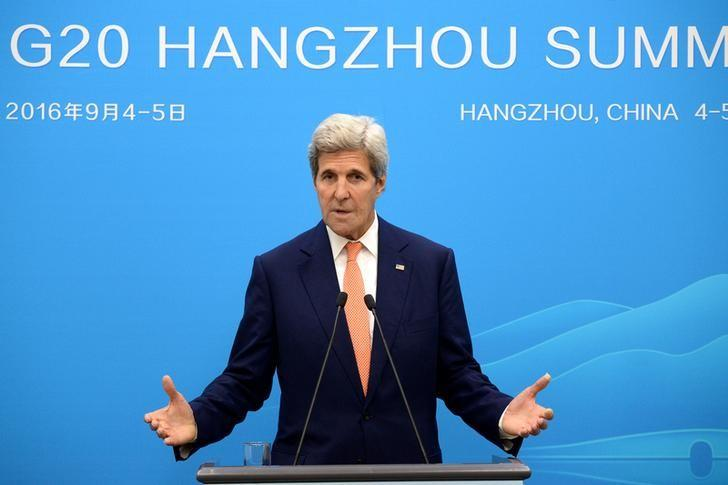 U.S. Secretary of State John Kerry speaks at a press conference in Hangzhou during the G20 Leaders Summit, China, September 4, 2016. REUTERS/Wang Zhao/Pool
