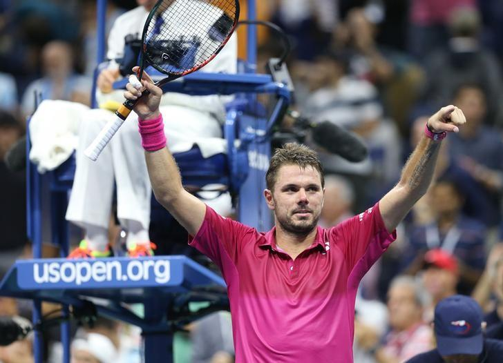 Sep 7, 2016; New York, NY, USA;  Stan Wawrinka of Switzerland celebrates after recording match point against Juan Martin Del Potro of Argentina on day ten of the 2016 U.S. Open tennis tournament at USTA Billie Jean King National Tennis Center. Mandatory Credit: Jerry Lai-USA TODAY Sports