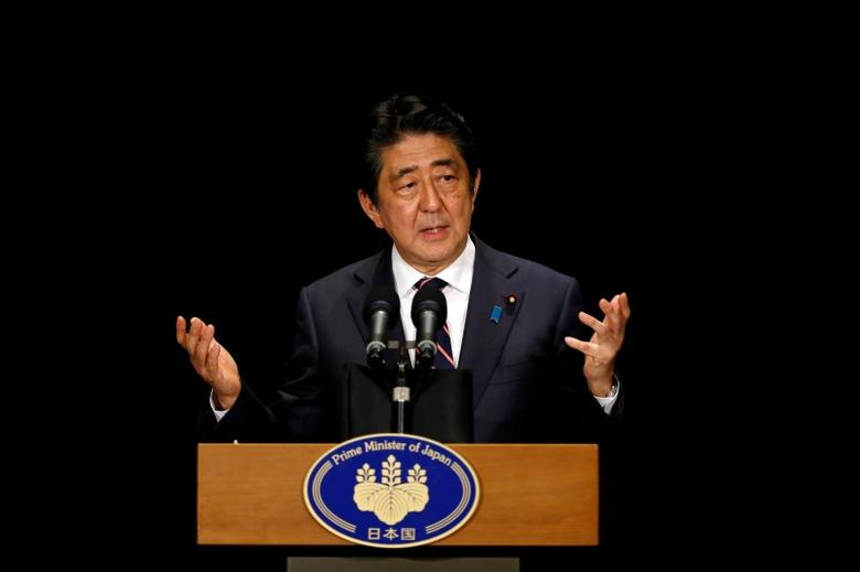 Japan's Prime Minister Shinzo Abe attends a news conference during the G20 Summit in Hangzhou, Zhejiang Province, China, September 5, 2016. REUTERS/Aly Song