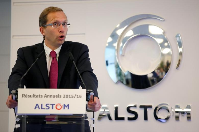 Henri Poupart-Lafarge, Chairman and Chief Executive Officer of the Alstom, attends a news conference to present the company's full year to end-March 2015/2016 annual results in Saint-Ouen, near Paris, France, May 11, 2016.   REUTERS/Gonzalo Fuentes