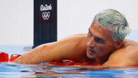 Nadador norte-americano Ryan Lochte reage após concluir a prova de 200 metros medley individual nos Jogos do Rio. 11/08/2016. REUTERS/David Gray