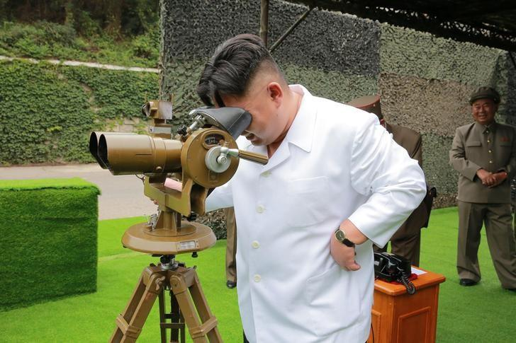 North Korean leader Kim Jong Un provides field guidance during a fire drill of ballistic rockets by Hwasong artillery units of the KPA Strategic Force, in this undated photo released by North Korea's Korean Central News Agency (KCNA) in Pyongyang September 6, 2016. KCNA/via Reuters   ATTENTION EDITORS - THIS PICTURE WAS PROVIDED BY A THIRD PARTY. REUTERS IS UNABLE TO INDEPENDENTLY VERIFY THE AUTHENTICITY, CONTENT, LOCATION OR DATE OF THIS IMAGE. FOR EDITORIAL USE ONLY. NO THIRD PARTY SALES. SOUTH KOREA OUT. THIS PICTURE IS DISTRIBUTED EXACTLY AS RECEIVED BY REUTERS, AS A SERVICE TO CLIENTS.