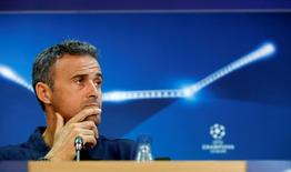 Barcelona's coach Luis Enrique attends a news conference. Football Soccer - Barcelona training - Champions League - Joan Gamper training camp - Barcelona, Spain - 12/09/16. REUTERS/Albert Gea