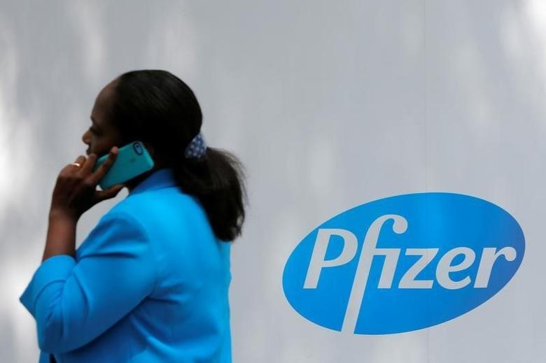 The Pfizer logo is seen at their world headquarters in Manhattan, New York, U.S., August 1, 2016.  REUTERS/Andrew Kelly  -