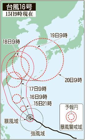 台風16号が北上続ける