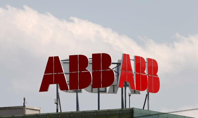 The logo of Swiss engineering group ABB is seen on a roof of a plant in the town of Baden near Zurich, in this July 14, 2015 file photo.    REUTERS/Arnd Wiegmann/Files