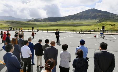 阿蘇山上へのアクセス復活