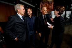 """Director of the movie Clint Eastwood (L) and cast members Aaron Eckhart (2nd L), Tom Hanks and Ann Cusack attend the premiere of """"Sully"""" in Los Angeles, California U.S., September 8, 2016.   REUTERS/Mario Anzuoni"""