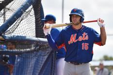 Sep 19, 2016; Port St. Lucie, FL, USA; New York Mets outfielder Tim Tebow (15) looks on during workout at the Mets Minor League Complex. Mandatory Credit: Jasen Vinlove-USA TODAY Sports
