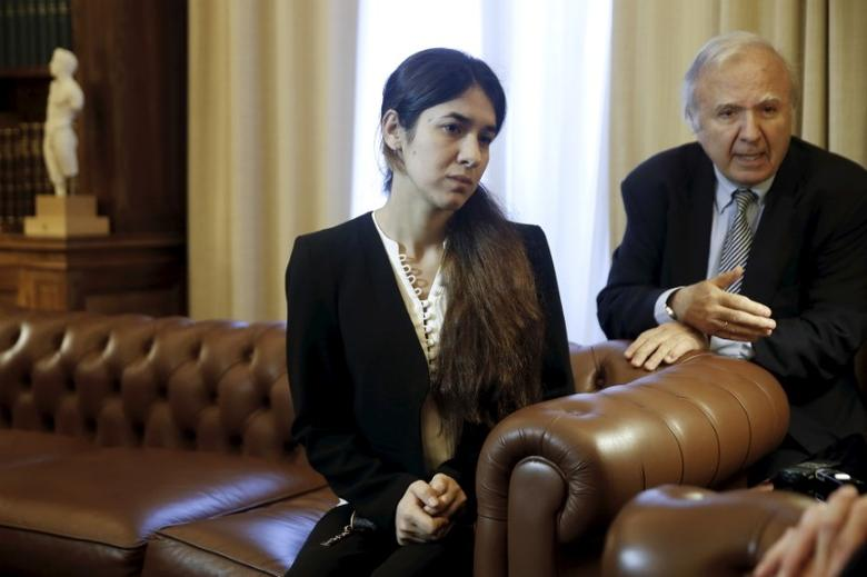Nadia Murad Basee Taha, a 21-year-old Iraqi woman of the Yazidi faith who was abducted and held by the Islamic State for three months, meets with Greek President Prokopis Pavlopoulos (not pictured) at the Presidential Palace in Athens, Greece, December 30, 2015. REUTERS/Alkis Konstantinidis