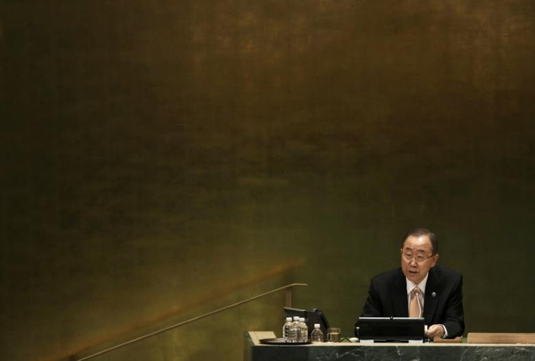 United Nations Secretary General Ban Ki Moon presides over the starting session of the United Nations General Assembly in the Manhattan borough of New York, U.S., September 20, 2016.  REUTERS/Mike Segar