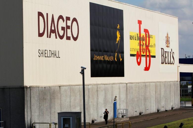 A man walks past a building in the Diageo Shieldhall facility near Glasgow, Scotland August 26, 2010.   REUTERS/David Moir/Files