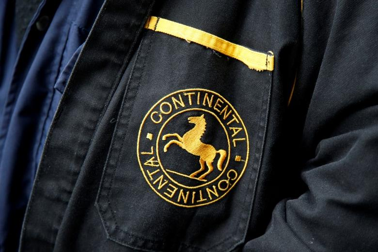 A Continental tyre company logo is seen on the jacket worn by a former employee in Paris, November 23, 2013.  REUTERS/Benoit Tessier/File Photo