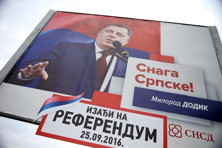 Milorad Dodik, President of Republika Srpska is pictured on an election poster calling for votes for a referendum on their Statehood Day in Prnjavor, Bosnia and Herzegovina, September 21, 2016. REUTERS/Dado Ruvic