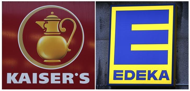 A combination of two pictures show the logo of grocery chain Kaiser's (L) and Edeka in Berlin, Germany, January 12, 2016. REUTERS/Fabrizio Bensch/File Photo