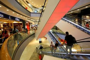 General view inside of shopping mall 'Pasing Arcaden' in Munich
