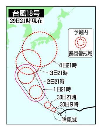 台風18号、来週半ば西日本接近