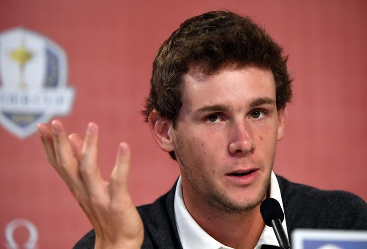 Sep 29, 2016; Chaska, MN, USA;   Thomas Pieters of Belgium addresses the media during a press conference before their practice round for the 41st Ryder Cup at Hazeltine National Golf Club. Mandatory Credit: John David Mercer-USA TODAY Sports