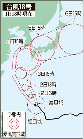 台風18号、北上続ける