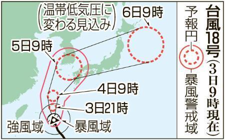 台風18号、暴風域伴い接近