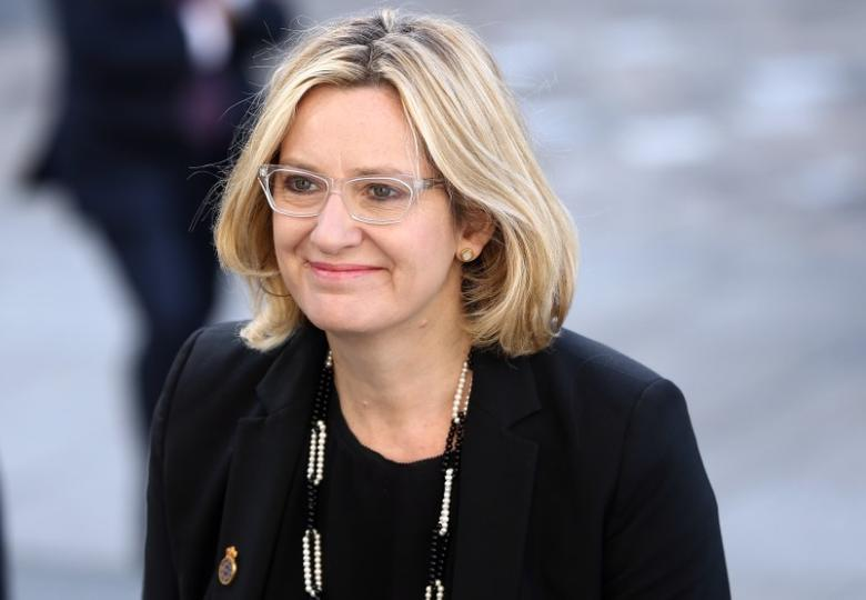 Britain's Home Secretary Amber Rudd attends the National Police Memorial Service at St Paul's Cathedral in London, Britain September 25, 2016. REUTERS/Neil Hall
