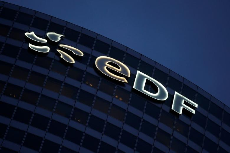 The logo of France's state-owned electricity company EDF is seen on the company tower at La Defense business and financial district in Courbevoie near Paris, France, March 2, 2016.   REUTERS/Jacky Naegelen /File Photo
