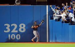 Oct 4, 2016; Toronto, Ontario, CAN; Baltimore Orioles center fielder Michael Bourn (1) catches a fly ball during the second inning against the Toronto Blue Jays in the American League wild card playoff baseball game at Rogers Centre. Mandatory Credit: Dan Hamilton-USA TODAY Sports