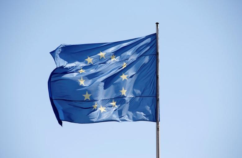图为欧盟旗帜。REUTERS/Fabrizio Bensch
