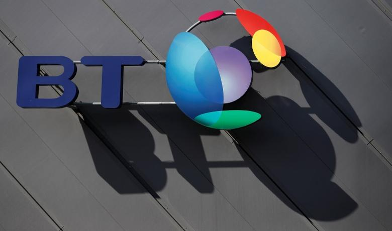 A BT company logo hangs on the side of a convention centre in Liverpool, Britain April 9, 2016. REUTERS/Phil Noble/File photo