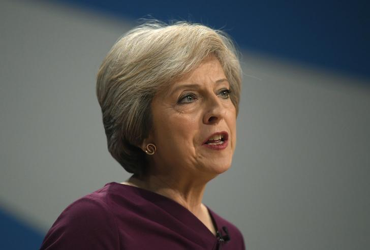 Britain's Prime Minister Theresa May gives her speech on the final day of the annual Conservative Party Conference in Birmingham, Britain, October 5, 2016. REUTERS/Toby Melville
