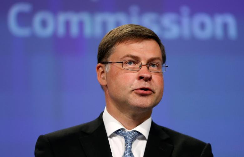 European Commission Vice-President Valdis Dombrovskis addresses a news conference at the EU Commission headquarters in Brussels, Belgium, July 27, 2016. REUTERS/Francois Lenoir