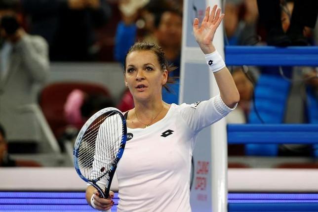 10月8日、テニスの中国オープン、女子シングルス準決勝、第3シードのアグニエシュカ・ラドワンスカ(写真)と第11シードのジョアンナ・コンタが決勝に進んだ(2016年 ロイター/Thomas Peter)