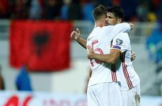 Football Soccer - Albania v Spain - World Cup 2018 Qualifiers - Loro Borici Stadium, Shkoder, Albania -9/10/16.   Spain's Diego Costa celebrates his goal wih team mates. REUTERS/Antonio Bronic