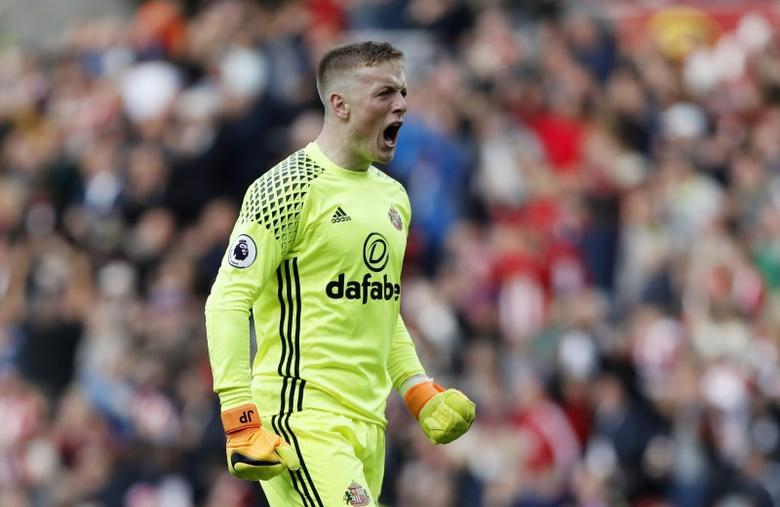 Britain Soccer Football - Sunderland v West Bromwich Albion - Premier League - The Stadium of Light - 1/10/16Sunderland's Jordan Pickford celebrates after Patrick van Aanholt scores their first goal Reuters / Russell CheyneLivepic