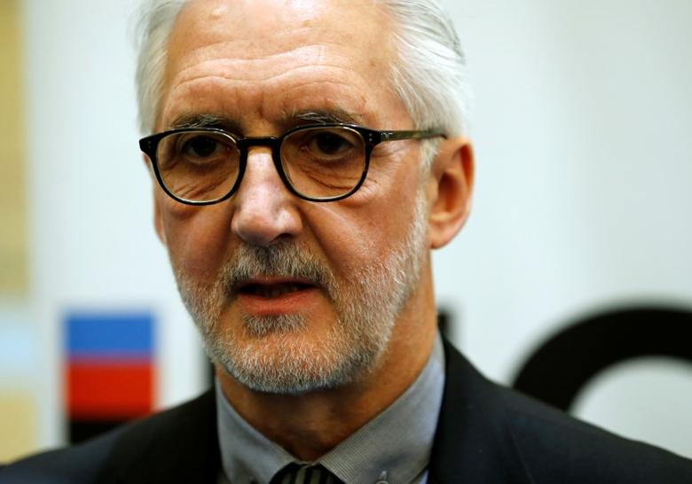 Britain's Brian Cookson, President of International Cycling Union (UCI) attends a media event on motor detection in Aigle, Switzerland May 3, 2016. REUTERS/Denis Balibouse
