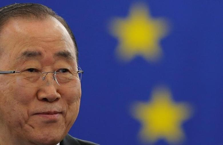 U.N. Secretary General Ban Ki-moon attends a voting session on the Paris U.N. COP 21 Climate Change agreement at the European Parliament in Strasbourg, October 4, 2016. REUTERS/Vincent Kessler