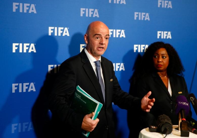 FIFA President Gianni Infantino and FIFA Secretary General Fatma Samoura address the media after a meeting of the FIFA Council at the FIFA headquarters in Zurich, Switzerland October 13, 2016.  REUTERS/Arnd Wiegmann