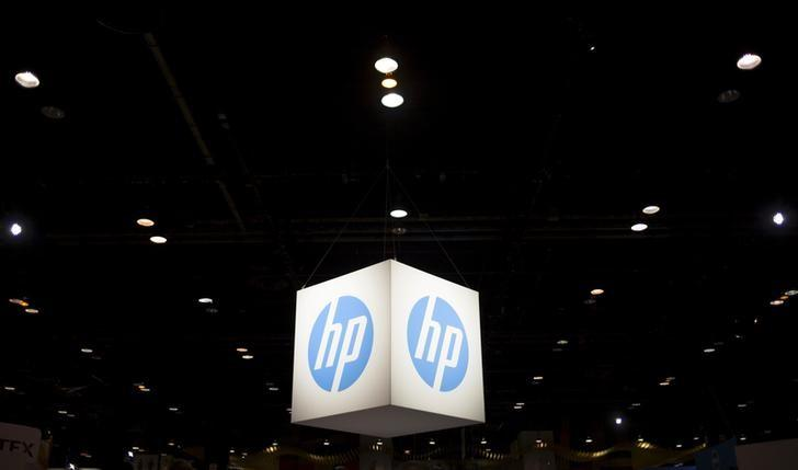 The Hewlett-Packard (HP) logo is seen as part of a display at the Microsoft Ignite technology conference in Chicago, Illinois, May 4, 2015. REUTERS/Jim Young