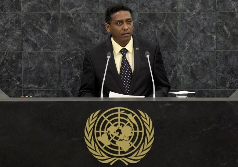 Vice President of Seychelles, Danny Faure addresses the 68th United Nations General Assembly at U.N. headquarters in New York, September 27, 2013.  REUTERS/Andrew Burton/Pool
