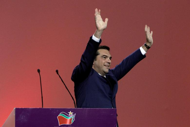 Greek Prime Minister Alexis Tsipras waves during a congress of leftist Syriza party in Athens, Greece,  October 13, 2016. REUTERS/Michalis Karagiannis