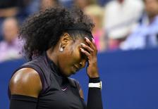 Sept 1, 2016; New York, NY, USA; Serena Williams of the USA reacts after a missed shot to Vania King of USA (not pictured) on day four of the 2016 U.S. Open tennis tournament at USTA Billie Jean King National Tennis Center. Mandatory Credit: Robert Deutsch-USA TODAY Sports