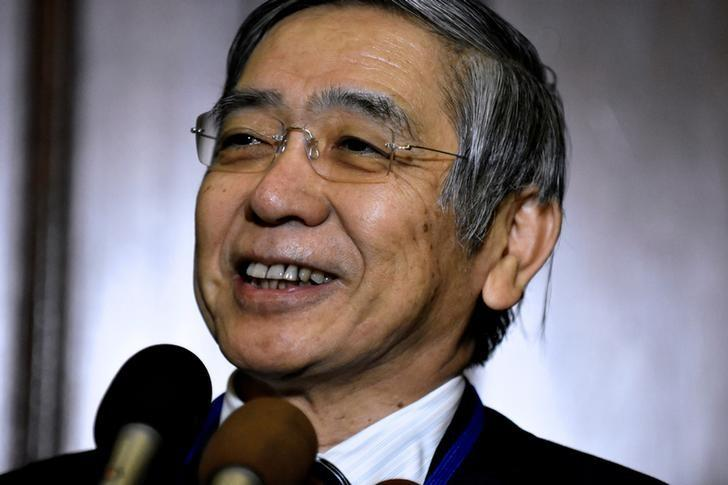 Bank of Japan Governor Haruhiko Kuroda speaks to reporters at the Willard Intercontinental Hotel during the annual meetings of the IMF and World Bank Group in Washington, October 6, 2016. REUTERS/James Lawler Duggan/Files