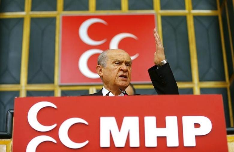 Turkey's main opposition Nationalist Movement Party (MHP) leader Devlet Bahceli addresses his party MPs during a meeting at the Turkish parliament in Ankara, Turkey July 19, 2016. REUTERS/Umit Bektas